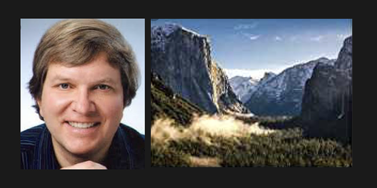 head shot of Rev. John Dear and scene in Yosemite Valley