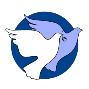 Pilgrimage for Peace logo, two doves